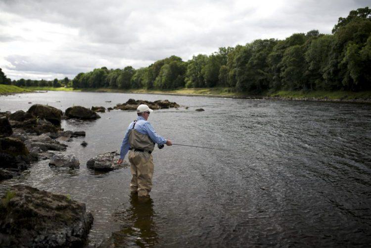 trout fishing trip scotland, fishing river Tay. brown trout