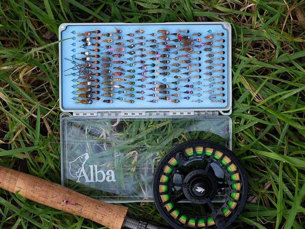 grayling, flies, tungsten bugs, grayling fishing, fly box, best flies, Scotland, nymphs, jig heads,