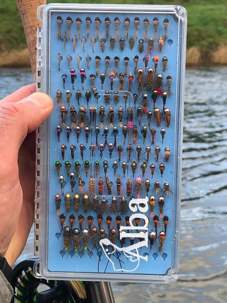 grayling, flies, tungsten bugs, grayling fishing, fly box, best flies, Scotland, nymphs, jig heads,
