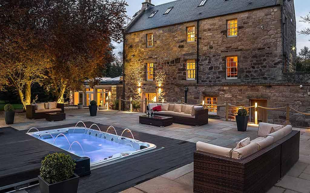 luxury, luxuryscotland, accommodation, exclusive, buyout, Edinburgh, hot tub, Spa bath, Riverside propertiy, converted Mill, River Tweed